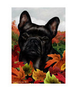 French Bulldog Black Fall Leaves Flag - $21.95+