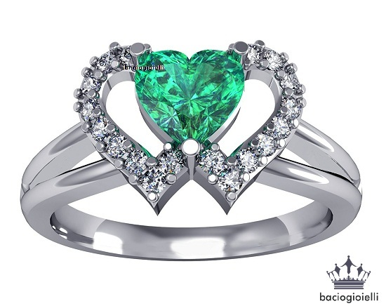 Heart Shape Green Sapphire 14k White GP 925 Silver Double Heart Engagement Ring for sale  USA