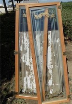 2 Wood Framed Decorative Glass Panels Hinged Casement Windows Furniture ... - $124.00
