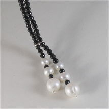 SOLID 18K WHITE GOLD NECKLACE WITH FW PEARLS AND MULTIFACETED ONYX MADE IN ITALY image 4