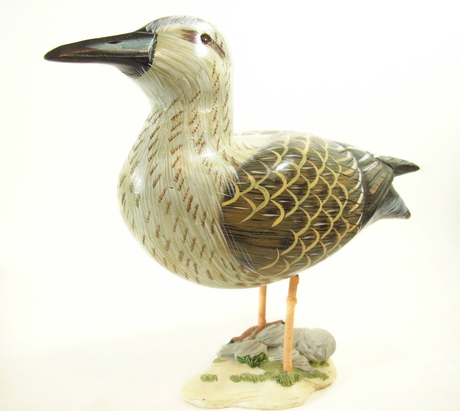 Hand Carved Painted Wood SHOREBIRD Decoy Sandpiper Yellowlegs Water Estate Find