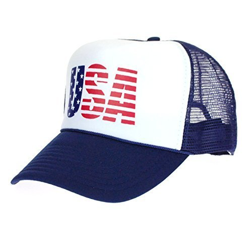 American Flag Patriotic USA Logo Classic 5 Panel Mesh Snap Back Trucker Hat Navy