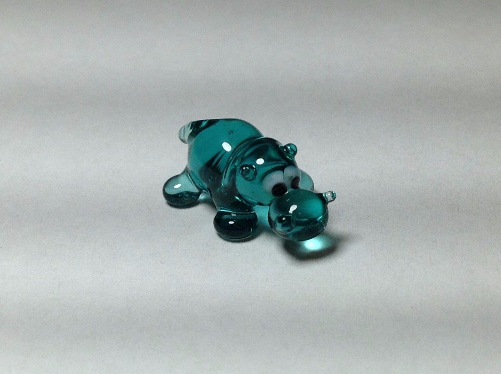 Miniature Glass cute teal or aqua hippo Handmade Blown Glass Made USA