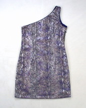 MODA INTERNATIONAL Smoky Purple Sequin Beaded One Off Shoulder Mini Dres... - $14.84
