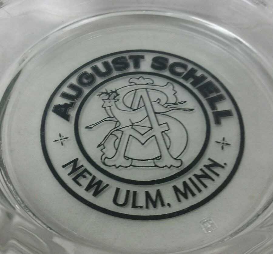 August Schell's Brewing Beer Glass Ashtray New Ulm MN bar advertising deer logo
