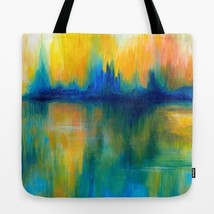 Tote bag All over print Abstract 14 orange blue green art painting by L.... - $26.99+