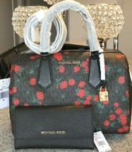 Michael Kors Hayes Black Mk Signature Red Rose Duffle Bag & Wallet ~Nwt - $197.01