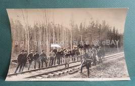 antique RAILROAD TRACK PHOTOGRAPH men DRIVING IN THE LAST SPIKE - $48.95