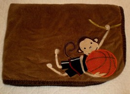 Lambs & Ivy MONKEY BASKETBALL Baby Blanket Brown & Tan Security Plush  - $6.20 CAD