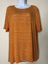 Chico's Womens Size 2 Orange Polka Dot Tunic T-Shirt  Short Sleeve - $19.80