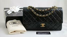 "CHANEL MEDIUM Vintage Black LAMBSKIN Leather 10"" AUTHENTICATED Flap Bag ... - $2,716.00"