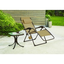 Folding Recliner Chair Brown Sling Outdoor Chaise Lounge Oversized Comfo... - $63.89
