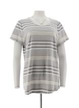 Isaac Mizrahi TRUE DENIM Striped Slub Knit T-shirt Grey M NEW A289597 - $24.73