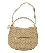 COACH Signature Metallic Trim Elle Hobo Shoulder Bag F73285 Khaki Platinum $398 - $182.69