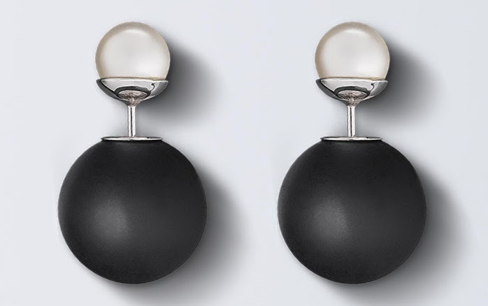 Dior tribal earrings matte black pearl6