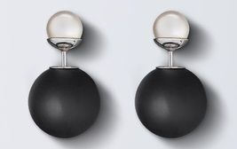 Auth Christian Dior Mise En Dior Tribal Double Pearl Earings Matte Black