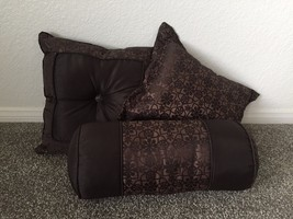 Set of 3 Mainstays Brown Floral Print Decorativ... - $19.95
