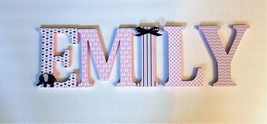 Wood Letters-Nursery Decor- Pink & Navy Blue Elephant Themed-Price Per L... - $12.50