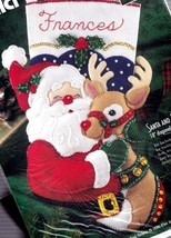 Bucilla Santa and & Rudolph Christmas Holiday Deer Felt Stocking Kit 83388 E - $74.95