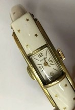 Vintage Ladies Flip Top Watch White Enamel with Stars - $58.41