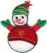 Winter Snowman Wearing Red Sweater with Metallic Gold Snowflake Patch - $6.93