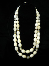 West Germany Ivory & Clear Bead Slide Vintage Casual Honeymoon Necklace Party Pr - $32.95