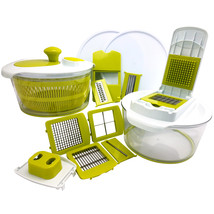 MegaChef 10-in-1 Multi-Use Salad Spinning Slicer, Dicer and Chopper with... - $50.11