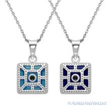 Evil Eye Pendant Greek Turkish Nazar Hamsa Kabbalah 925 Sterling Silver Necklace