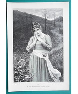 LOVELY MAIDEN First Love Pensive Walking Down Meadow Path - VICTORIAN Er... - $16.20