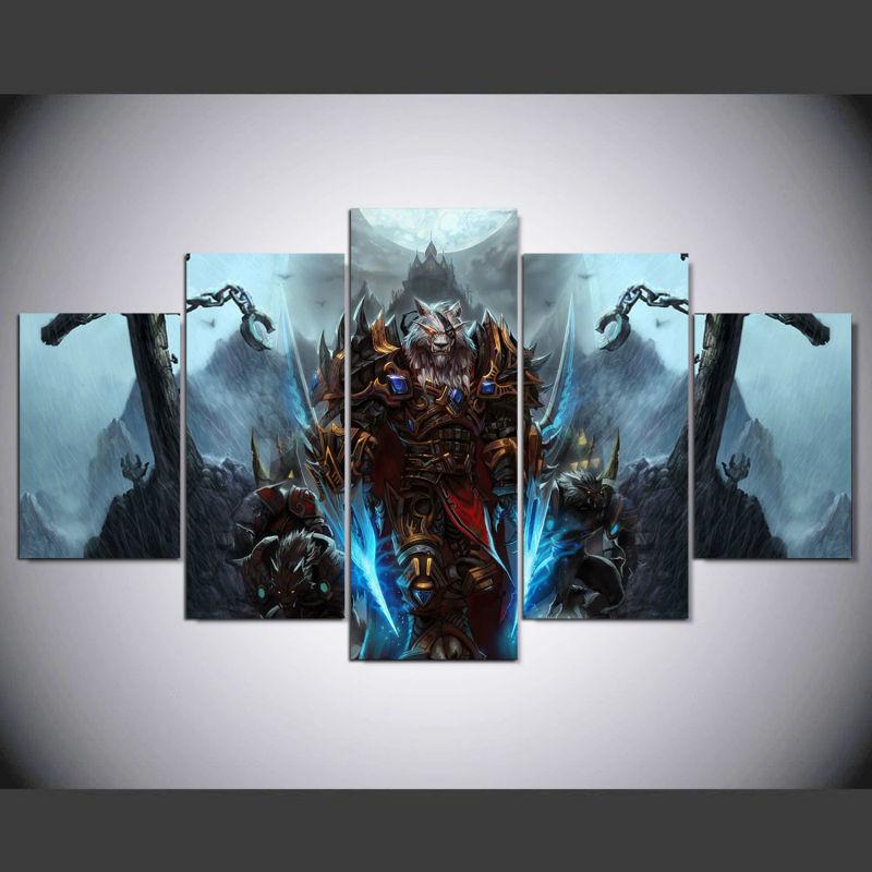 Framed 5 Piece Werewolf World of Warcraft Print Poster Canvas Wall ...