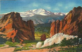 Linen Postcard CO H203 Pikes Peak Gateway of the Garden of the Gods Sanb... - $7.50