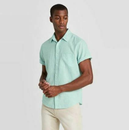 Goodfellow Mens Standard Fit Short Sleeve Linen Blend Button-Down Shirt Green XL