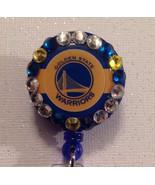 Nba Golden State Warriors Badge Reel Id Holder Swarvoski Crystals Blue H... - $10.99