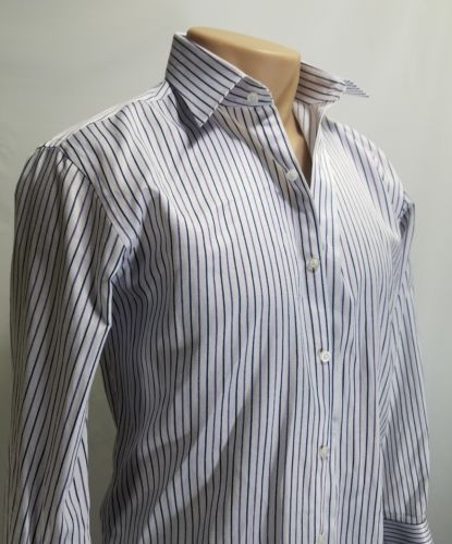 ZANEBONO MEN'S DRESS LONG-SLEEVE SHIRT STRIPED PURPLE GRAY WHITE 15 1/2  22 3/4