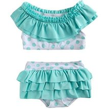 Cute Baby Girls Green Bikini Beach Suit Lovely Swimsuit 1-2 Years Old(80-90cm)