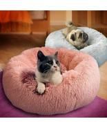Bed Round Dog Long Plush Dog Kennel Washable Cat House Cushion Soft Pet Bed - $20.48+