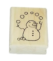 Juggling Snowman and Snowman Poop Sentiment Rubber Stamp Mounted on Wood image 1