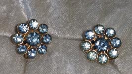Light blue Rhinestone cluster earrings button vintage screw back Timeless - $15.00