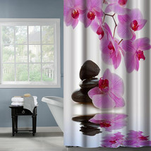 Fabric Polyester Phalaenopsis Flower With Stone Waterproof Shower Curtains Thick - $29.19