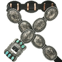 Native Navajo J McCray Turquoise Concho Belt Hammered Distressed Silver ... - $598.00