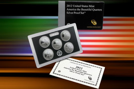 2012 U.S. MINT AMERICA THE BEAUTIFUL 5 COIN SILVER PROOF QUARTER SET W/COA - $40.90