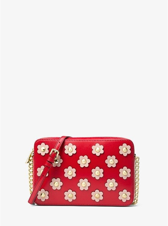 f00d61aec5e5 S l1600. S l1600. NWT Michael Kors Jet Set Floral Applique Large EW  Crossbody / Bright Red-SftPink
