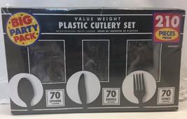 "Big Party Pack Window Box Cutlery Set, Black, Plastic , 6"" x 11"", Pack - $14.03"