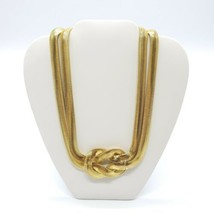 Slinky Herringbone Chain KNOT COLLAR NECKLACE Choker GOLD Tone Snake - $29.69