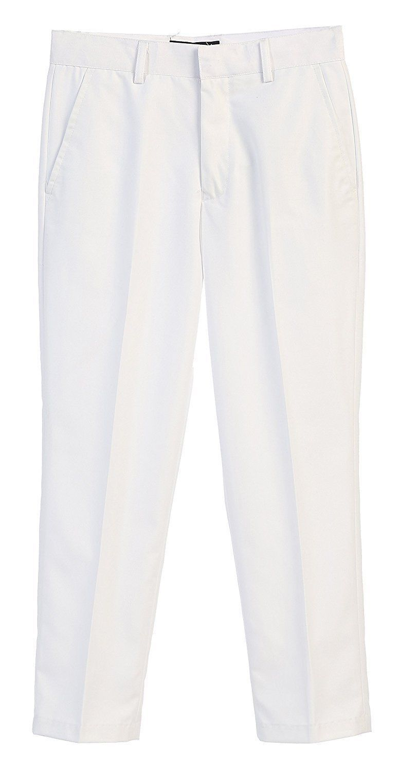 Kids Boys Junior Toddler Flat Front Dress Pants Slacks Adjustable Waist White