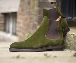 Handmade Men's Olive Suede High Ankle Chelsea Boots image 1