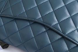 AUTHENTIC CHANEL TURQUOISE BLUE LAMBSKIN MEDIUM DOUBLE FLAP BAG GOLD HW RARE image 4