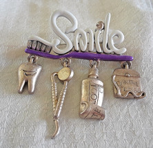 Vintage Danecraft Smile Dentist Hygienist Charm Brooch Tooth Brush Paste... - $14.25