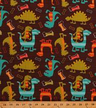 Dinosaurs T-Rex Animals Bones Stripes Dinos Kids Cotton Fabric Print BTY... - $7.95
