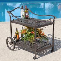 Fiesta Outdoor Tea Cart Patio Furniture Cast Aluminum Bronze36'' x 35.5''H. - $321.75